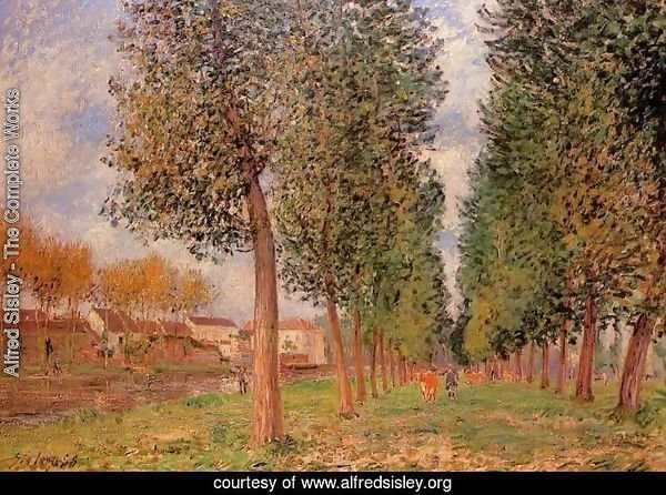 The Poplar Avenue at Moret, Cloudy Day, Morning, 1888