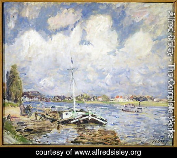 Alfred Sisley - Boats on the Seine, c.1877