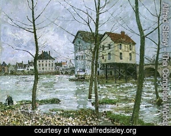 Alfred Sisley - The Mills at Moret-sur-Loing, Winter, 1890