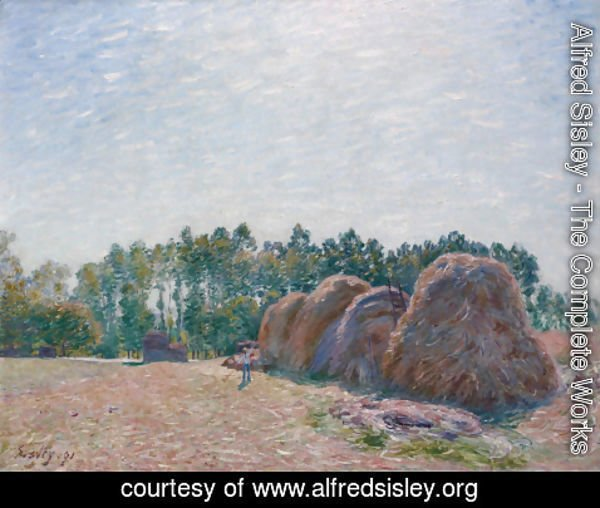 Alfred Sisley - Haystacks at Moret, Morning Light, 1891