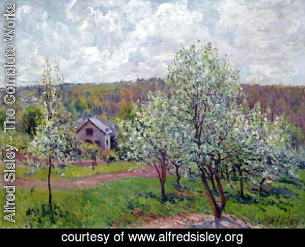 Alfred Sisley - Spring in the Environs of Paris, Apple Blossom, 1879