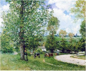 Alfred Sisley - Cows in Pasture, Louveciennes, 1874