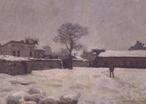 Alfred Sisley - Under Snow: the farmyard at Marly-le-Roi, 1876