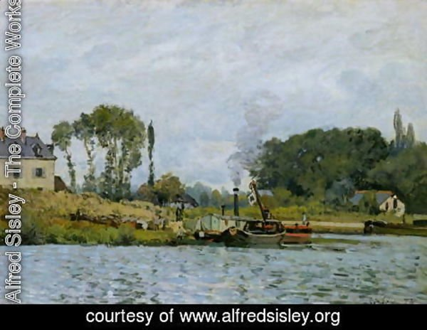 Alfred Sisley - Boats at the lock at Bougival, 1873