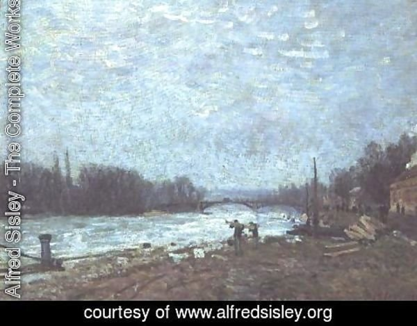 Alfred Sisley - After the Thaw, the Seine at Suresnes Bridge, 1880