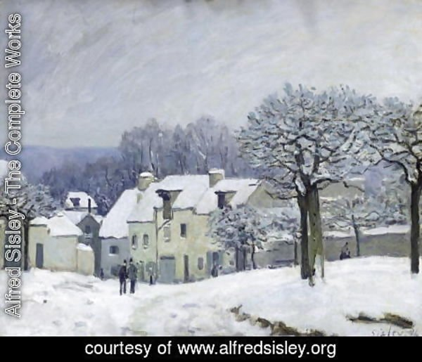 Alfred Sisley - The Place du Chenil at Marly-le-Roi, Snow, 1876