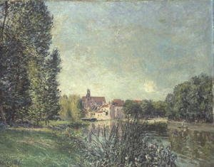 Alfred Sisley - The Loing Canal and the Church at Moret, 1886