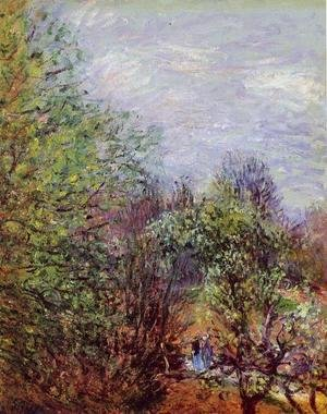 Alfred Sisley - Two Women Walking along the riverbank