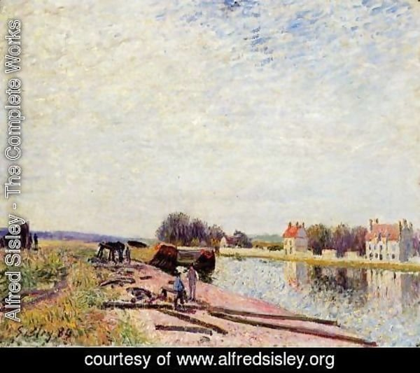 Alfred Sisley - Barges on the Loing, Saint-Mammes