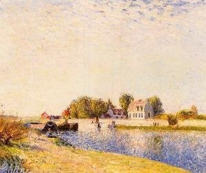 Alfred Sisley - The Dam on the Loing - Barges