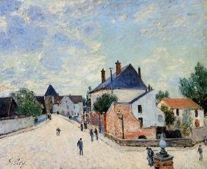Alfred Sisley - Street in Moret(Porte de Bourgogne from across the Bridge)