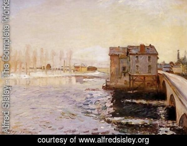 Alfred Sisley - The Moret Bridge and Mills under Snow