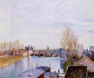 Alfred Sisley - The Loing at Moret, the Laundry Boat