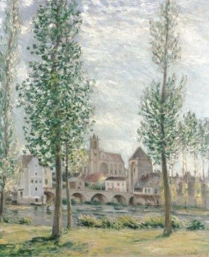Alfred Sisley - View of Moret-sur-Loing through the Trees