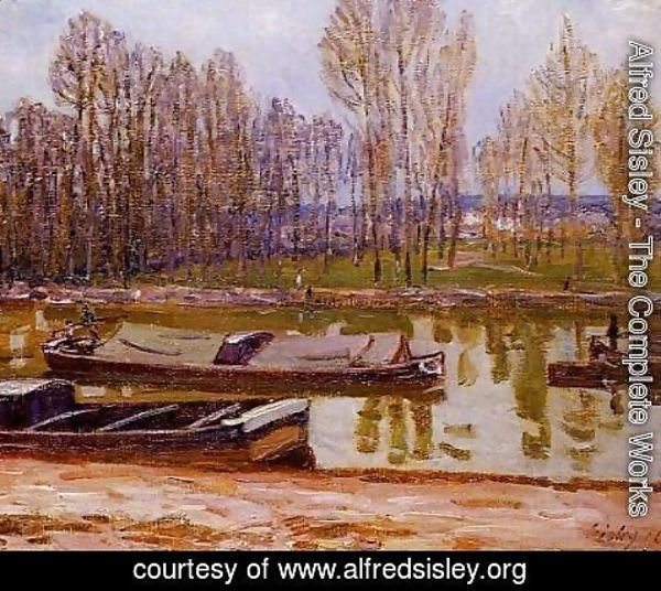 Alfred Sisley - Barges on the Loing Canal, Spring
