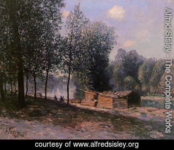 Alfred Sisley - Cabins by the River Loing, Morning