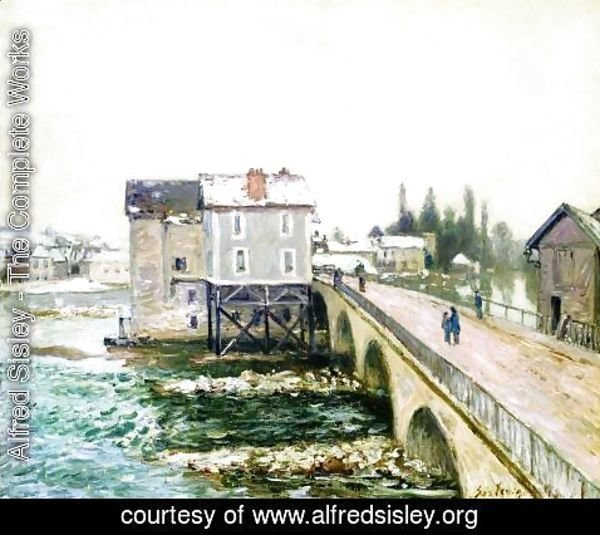 Alfred Sisley - The Bridge and Mills of Moret, Winter's Effect