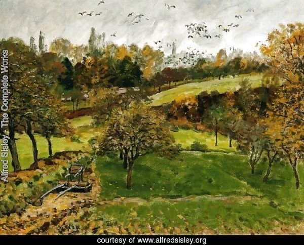 Autumn Landscape Louveciennnes By Alfred Sisley Oil Painting