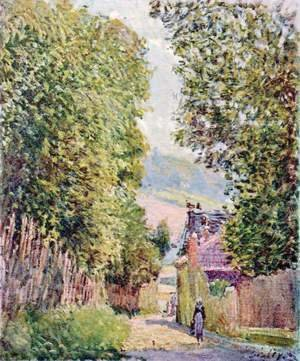 Alfred Sisley - Street in Louveciennes, Sunlight