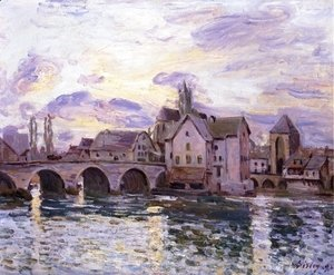 Alfred Sisley - The Bridge at Moret at Sunset