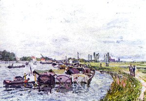 Alfred Sisley - Freight punts with Saint Mammès