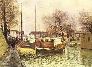 Alfred Sisley - Punts on the channel Saint Martin in Paris