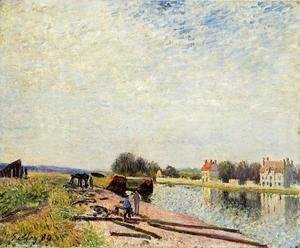 Alfred Sisley - Barges on the Loing at Saint-Mammes  1884  1