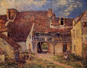 Alfred Sisley - Courtyard of a Farm at Saint-Mammes  1884