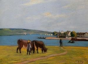 Alfred Sisley - Cows by the Seine at Saint-Mammes  1895