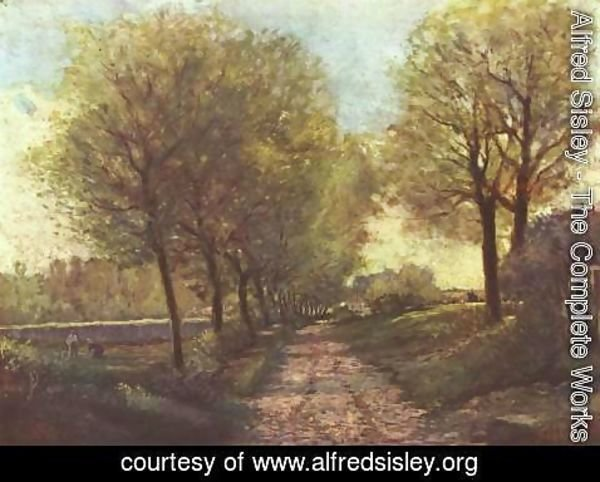 Alfred Sisley - Avenue of trees in a small town