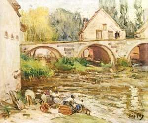 Alfred Sisley - The laundresses of Moret