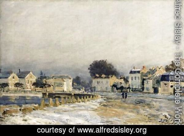 Alfred Sisley - The Watering Place at Mary-le-Roi with Hoarfrost