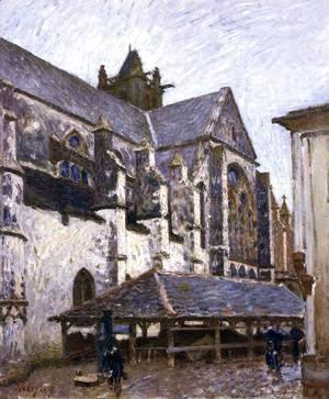 Alfred Sisley - The Old Church at Moret in Rain, Seen from the Transept