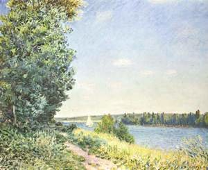 Normandy, the water path, in the evening at Sahurs