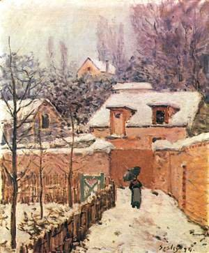 Alfred Sisley - Garden in Louveciennes in the Snow