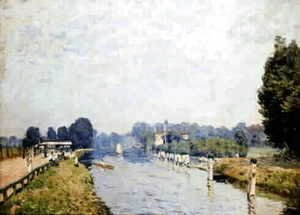 Alfred Sisley - Banks of rivers (the Thames Hampton Court, first week of October)