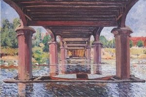Alfred Sisley - Under The Bridge At Hampton Court