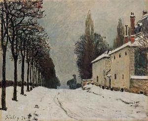 Alfred Sisley - Snow On The Road Louveciennes Chemin De La Machine