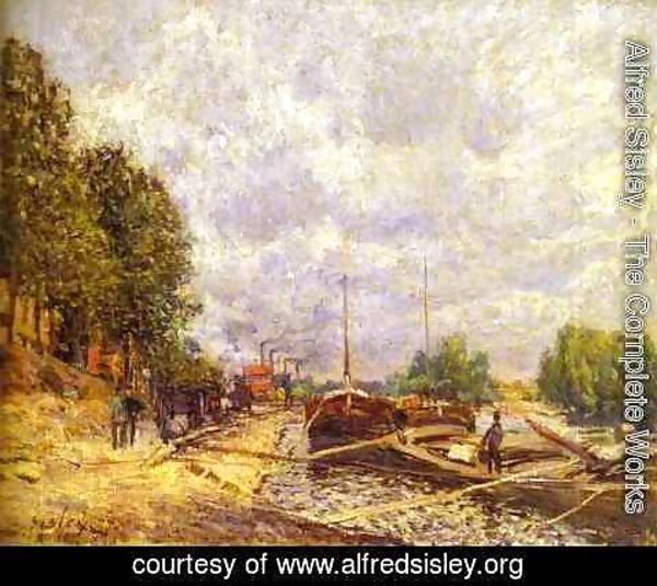 Alfred Sisley - Barges In Billancourt Les Peniches A Billancourt